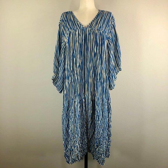 Zucca Stripe Crinkle Dress by Akira Onozuka NWT